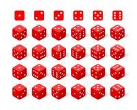 Isometrischer roter Satz der Würfel 3d Stockbild