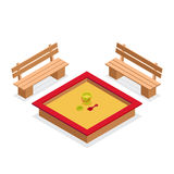 Isometrischer Sandkasten mit Spielwaren und Bänke Möbelvektorikone im Freien Stock Abbildung