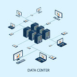 Isometrischer Satz der Daten mit Rechenzentrum- und Netzelementvektor vektor abbildung