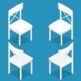 Isometrischer Satz der isometrischen Zeichnung des weißen Holzstuhls Flache Art Lizenzfreies Stockbild