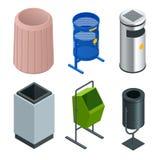 Isometrischer Satz des Metallkorbbehälters für Altpapier im Büro Leerer Abfall, saubere Mülltonne Auch im corel abgehobenen Betra stock abbildung