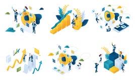 Isometrischer Satz Konzepte auf dem Thema des digitalen Marketings, Geschäftsmarketing, Teamwork, Erfolg lizenzfreie abbildung