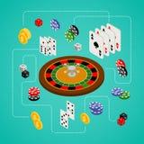 Isometrischer Satz Spielen und Kasinoeinzelteile Lizenzfreie Stockfotos