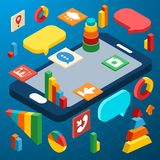 Isometrischer Smartphone infographic Stockbilder