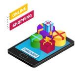 Isometrischer Smartphone mit Geschenkboxen auf weißem background Stockbilder