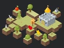 Isometrischer Spiel-Szenenvektor des Spiels 3D Stockfotos