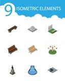 Isometrischer Stadt-Satz Garten-Dekor, Bank, Skulptur und andere Vektor-Gegenstände Schließt auch Statue, Monument, Wasserfall mi lizenzfreie abbildung