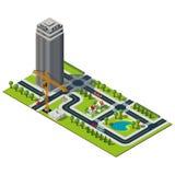 Isometrischer Stadtplan Stockbild