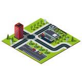 Isometrischer Stadtplan stockfoto