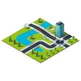 Isometrischer Stadtplan Lizenzfreies Stockbild