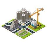 Isometrischer Stadtplan Hotel- und Bankillustration Stockfotos