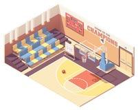 Isometrischer Turnhallenbasketballplatz des Vektors lizenzfreies stockfoto