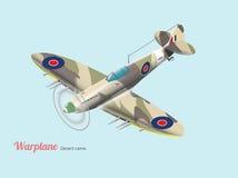 Isometrischer Vektor des britischen Kampfflugzeugs des Weltkriegs in der Wüstentarnung vektor abbildung