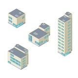 Isometrischer Vektorillustrationsbürogebäude-Ikonensatz Stockfotos