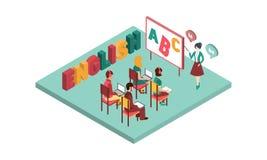 Isometrischer Vektorinnenraum der Englischstunde Lehrerstellung nahe Brett mit Zeiger Studenten mit Laptops und Büchern vektor abbildung