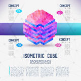Isometrischer Würfel des abstrakten Begriffs Stockfoto