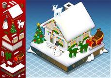 Isometrischer Weihnachtenschnee mit einer Kappe bedecktes Haus Lizenzfreies Stockfoto