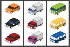 Isometrisches Autoset Stockfotografie