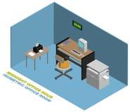 Isometrisches Büro um Mitternacht mit Computertischdrucker-Fotokopienmaschine vektor abbildung