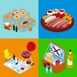 Isometrisches BBQ-Picknick-Lebensmittel Sommerferienlager Gegrilltes Fleisch, Wein und Gemüse vektor abbildung