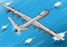 Isometrisches Brummen-Flugzeug-Fliegen in der hinteren Ansicht Stockfotos