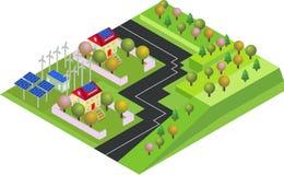 Isometrisches eco Dorf, Land mit grüner Umwelt und Windenergiepropeller lizenzfreie abbildung