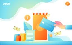 Isometrisches Einkaufen online und Zahlungson-line-Konzepte Internet-Zahlungen, Schutzgeld?berweisung, on-line-Bankvektor lizenzfreie abbildung