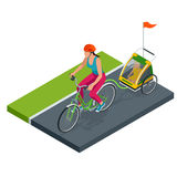 Isometrisches Fahrrad mit Kinderfahrrad-Anhänger Stockbild