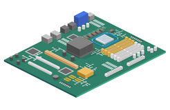 Isometrisches flaches 3D lokalisierte Konzeptcomputermotherboard-Informationssystem Lizenzfreie Stockbilder