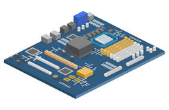Isometrisches flaches 3D lokalisierte Konzeptcomputermotherboard-Informationssystem Stockfotografie