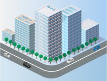 Isometrisches flaches 3D lokalisierte Sommer-Stadtviertel der Konzeptstadt dreidimensionales Stockbilder
