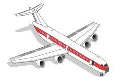 Isometrisches Flugzeug mit rotem Streifen Stockbilder