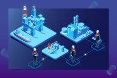 Isometrisches Flussdiagramm der Gasöl-Industrie mit HochseebohrungsextraktionsanlagenplattformSammelbehälter und Transport lizenzfreie abbildung