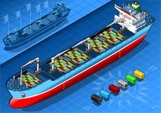 Isometrisches Frachtschiff mit Behältern in Front View Stockfoto