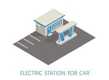 Isometrisches Gas, elektrische Illustration der Tankstelle-Maurerarbeitgebäude-Straße 3d lizenzfreie abbildung