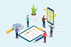 Isometrisches Geschäftsbewertungs-Sternkonzept des Feedbacks 3d mit Teamleuten und Checklistenklemmbrett - Vektor stock abbildung