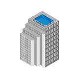 Isometrisches Geschäftszentrumgebäude mit Aufzügen und einem Dachspitzenpool Auf weißem Hintergrund Auch im corel abgehobenen Bet Stockbild