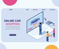 Isometrisches Grafik-Konzept des Auto-Einkaufens on-line durch Laptop stock abbildung