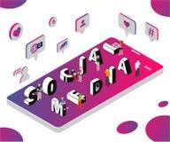 Isometrisches Grafik-Konzept des Social Media, das vermarktet, um Geschäft zu helfen zu wachsen lizenzfreie abbildung