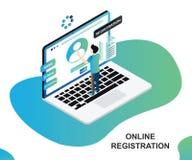 Isometrisches Grafik-Konzept eines Mannes unter Verwendung des Online-Registrierungs-Prozesses stock abbildung