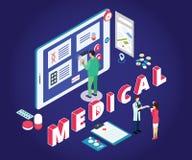 Isometrisches Grafik-Konzept-on-line-Einkaufen des isometrischen Grafik-Konzeptes des E-Commerce von Medizin, wo normale Leute ME vektor abbildung