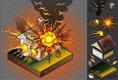 Isometrisches Haus geschlagen durch Explosion Lizenzfreie Stockfotos