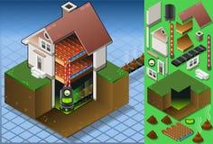 Isometrisches Haus mit Biokraftstoffdampfkessel Stockbilder
