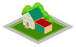 Isometrisches Haus mit Garage Stockfotos