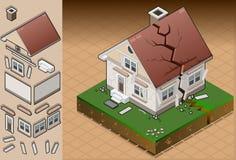 Isometrisches Haus schlug durch Erdbeben Lizenzfreies Stockfoto