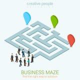 Isometrisches infographic Konzept des flachen Netzes 3d der Geschäftslabyrinthpuzzlespiellösung Stockfotos