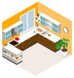 Isometrisches Küchen-Design Vektorisometrische niedrige Polyküchen-Raumikone Lizenzfreies Stockfoto