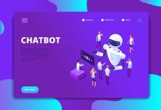 Isometrisches Konzept Chatbot Bot, der mit Leuten plaudert Technologievektor des Gespräches der künstlichen Intelligenz zukünftig stock abbildung
