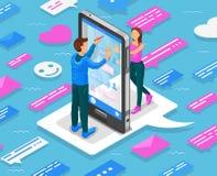 Isometrisches Konzept der on-line-Datierung Jugendlichchat durch Smartphone Vektor lizenzfreie abbildung