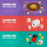 Isometrisches Konzept des Entwurfes des Kasinos von spielenden Schablonen Lizenzfreie Stockfotografie